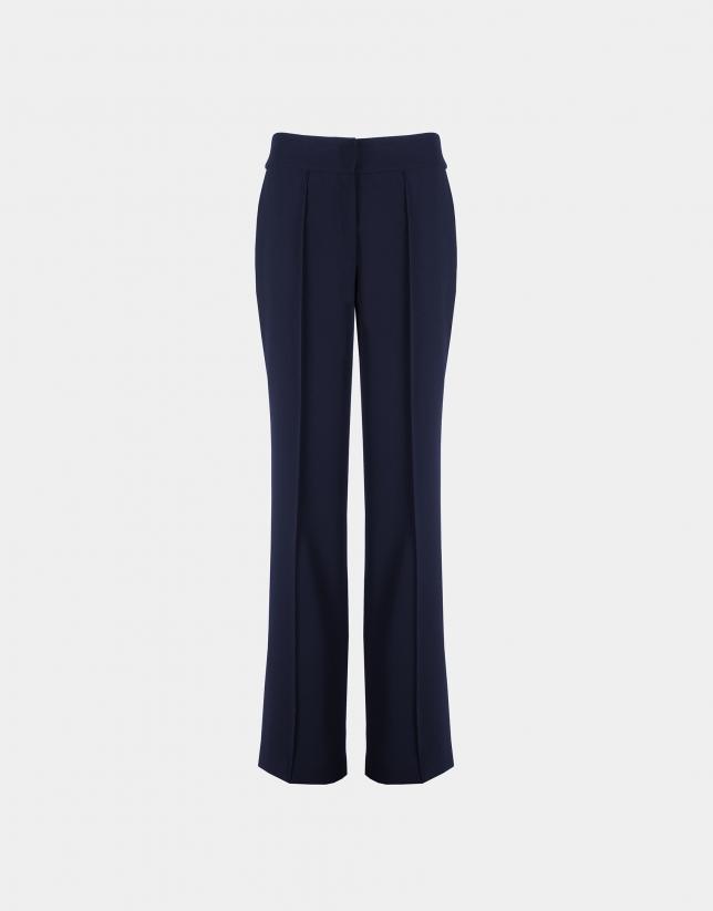 Pantalon droit bleu marine sans poches