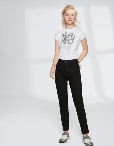 Pantalon fuseau noir à poche brodée