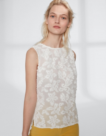 Beige cotton voile, embroidered top