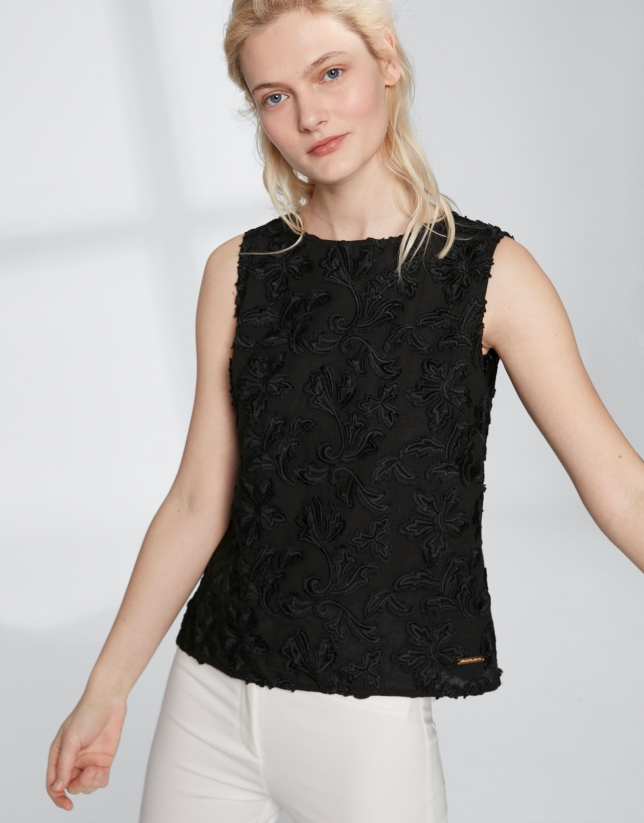 Black cotton voile, embroidered top