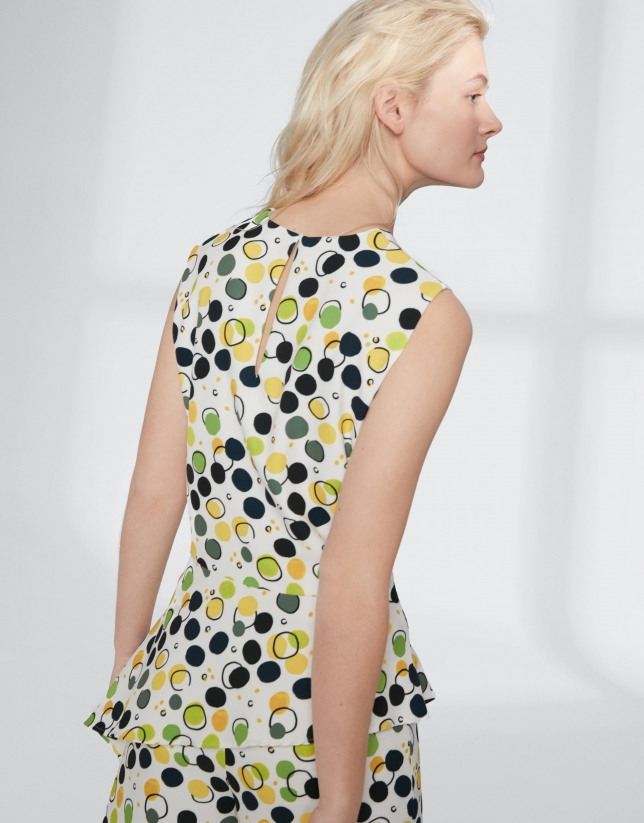 Yellow dotted print top