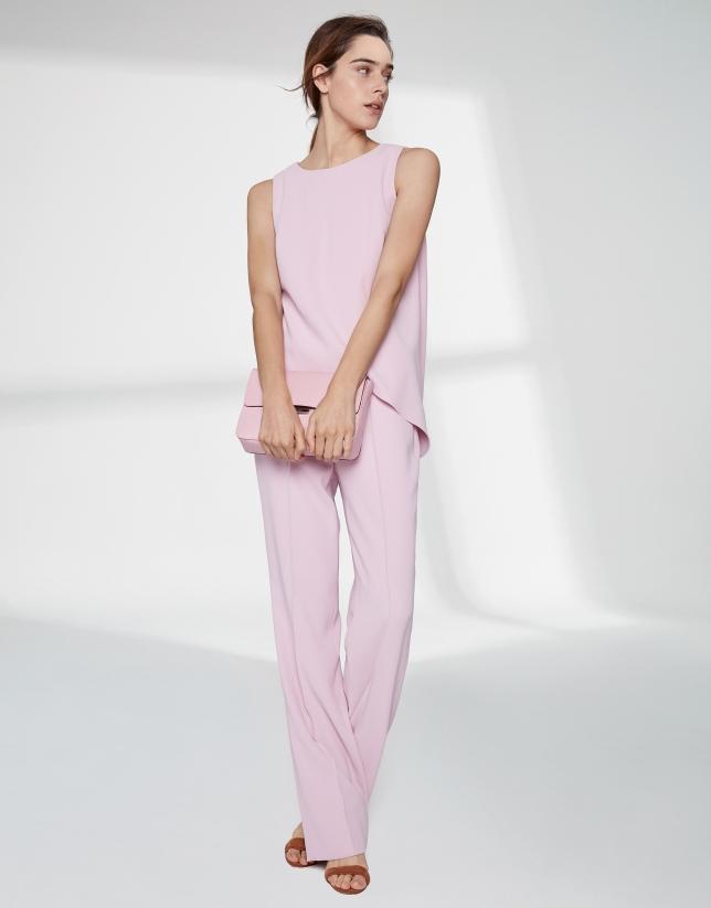 Pink quartz top with asymmetric hem