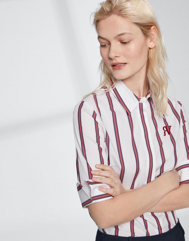 Chemise à rayures en écru et rouge
