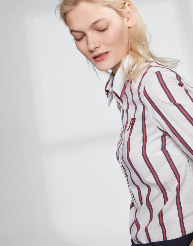 Camisa rayas crudo y rojo