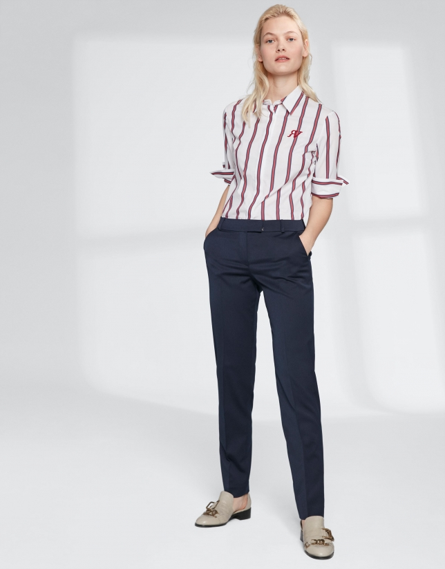 Red and beige striped shirt