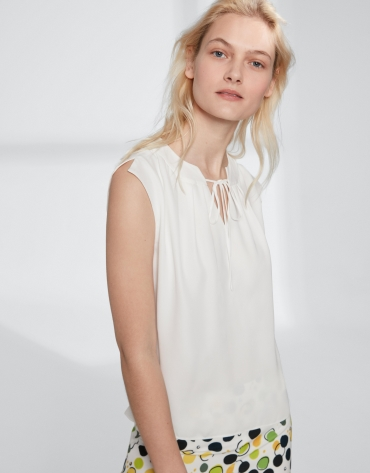 Off white top with folded neckline