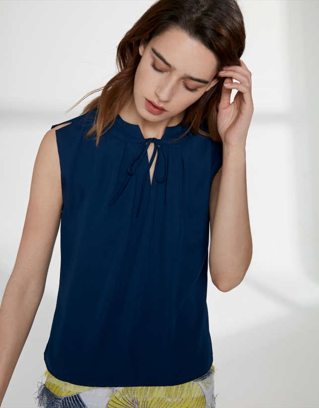 Navy blue top with folded neckline