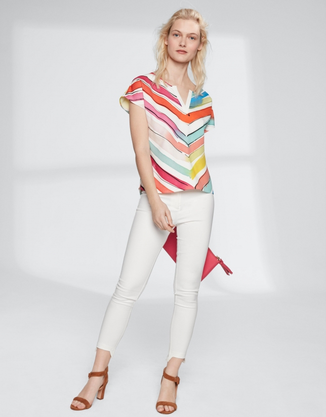 Multicolor striped print sleeveless blouse