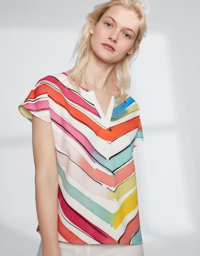 Blusa sin mangas estampado rayas multicolor