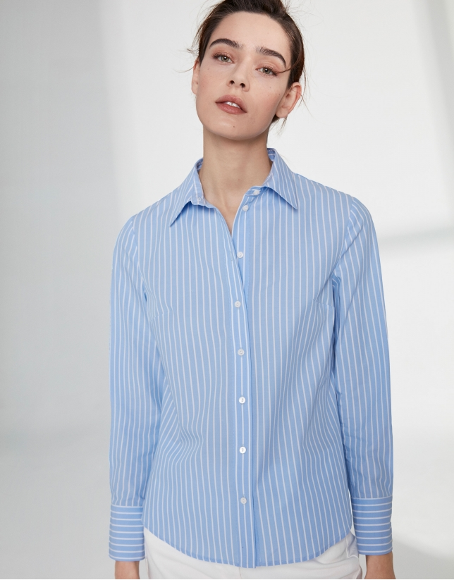 Ultramarine blue striped men's shirt