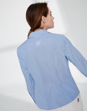 Ultramarine blue striped men's shirt