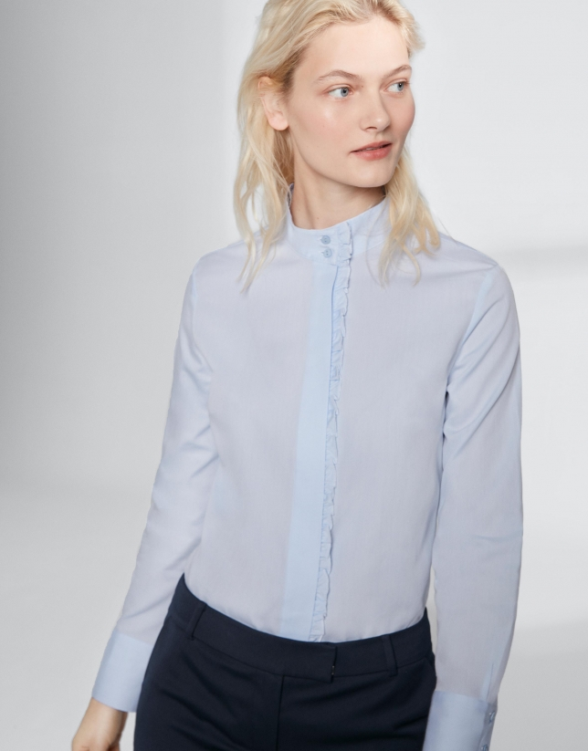 Ultramarine blue shirt with mao collar and flounce