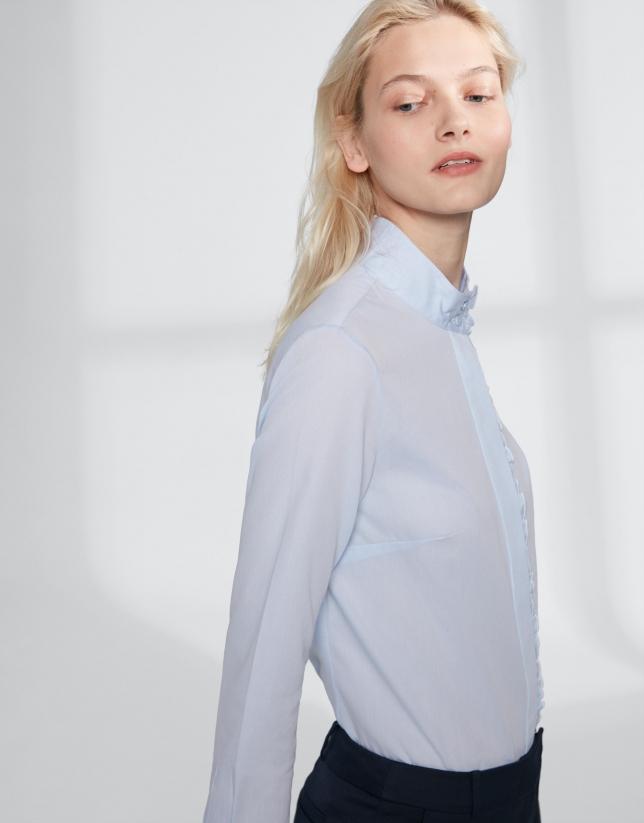 Chemise col Mao à volants bleu outremer