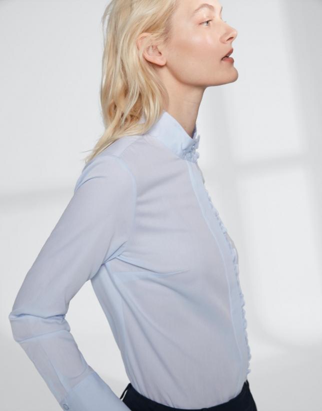 Ultramarine blue shirt with mao collar and flounce