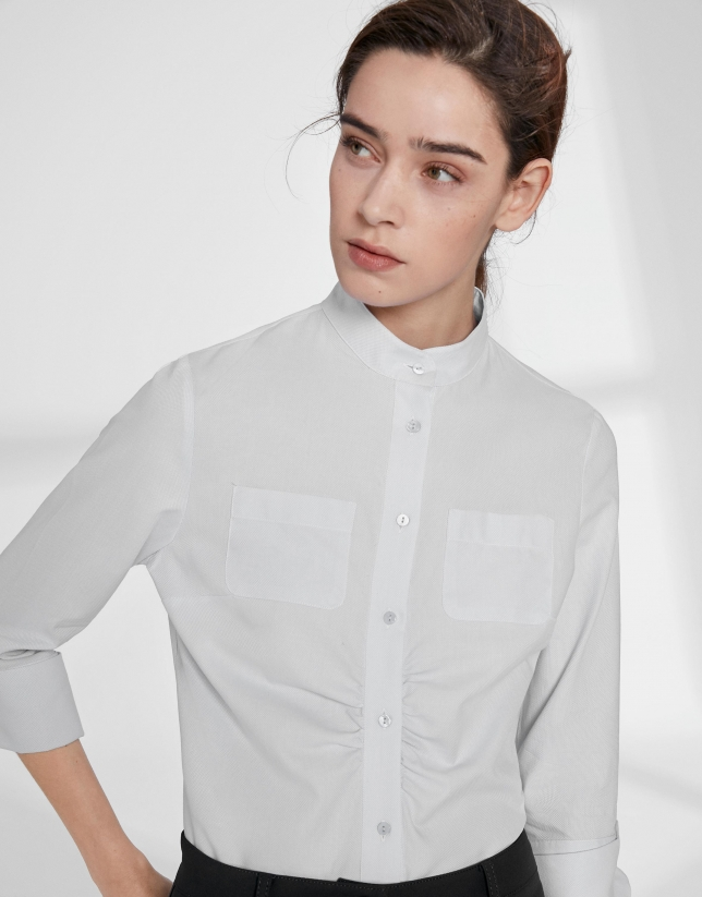 White shirt with mao collar and flounce