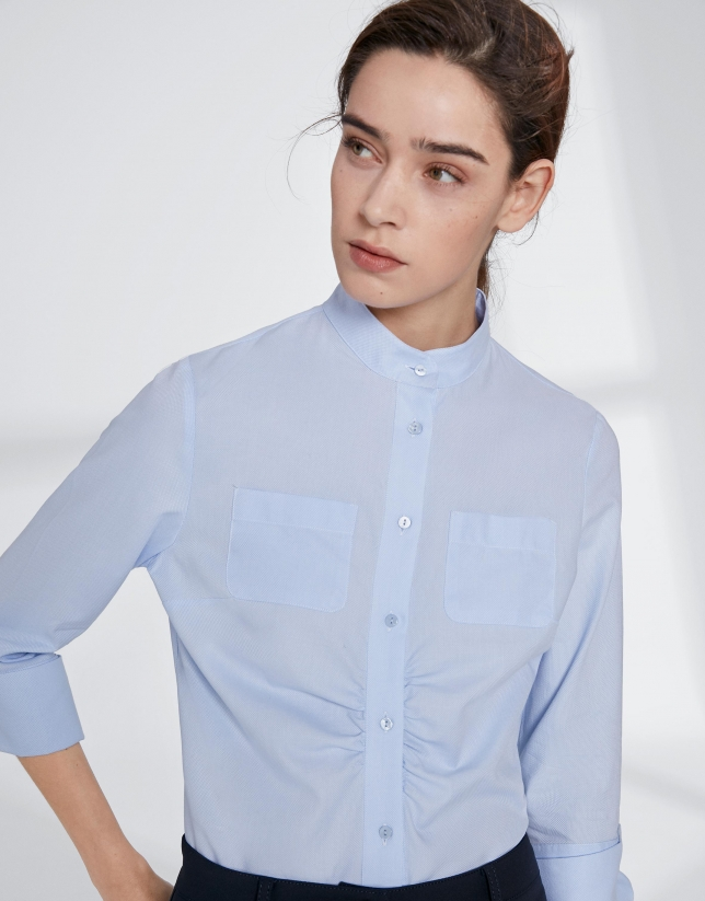 Ultramarine blue shirt with mao collar and gathering