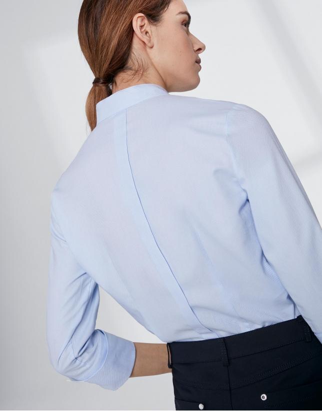 Chemise col Mao bleu outremer avec pli