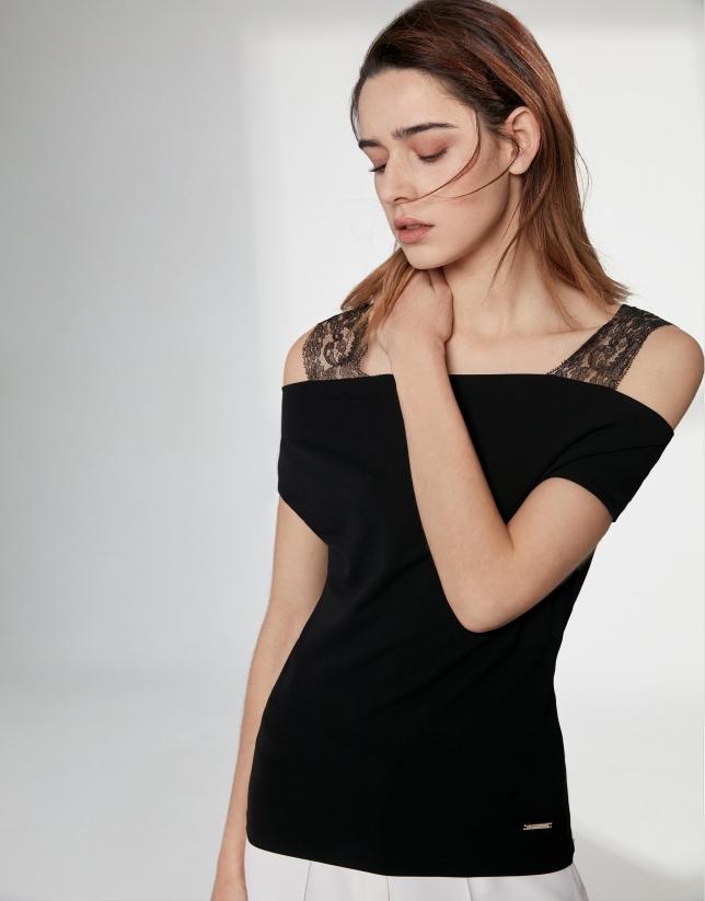 T-shirt à bretelles en dentelle noir