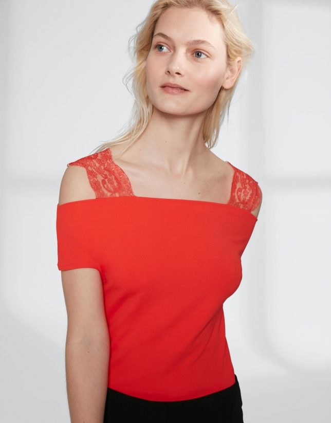 Camiseta naranja tirantes de encaje