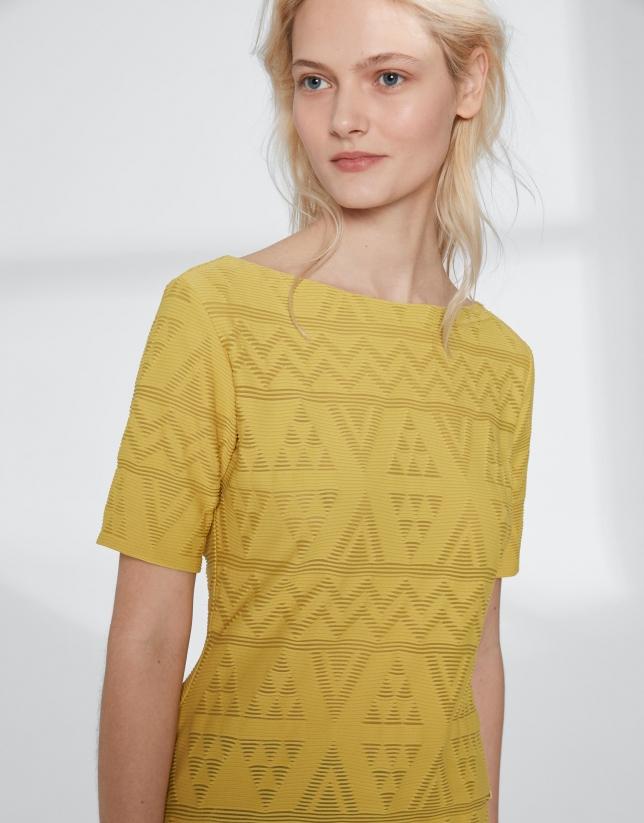 Camiseta tejido relieve amarilla