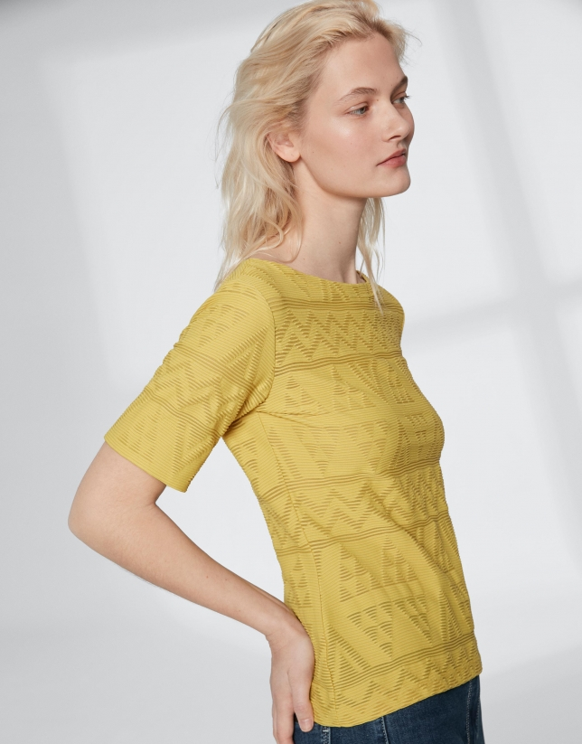 Yellow top with an embossed fabric