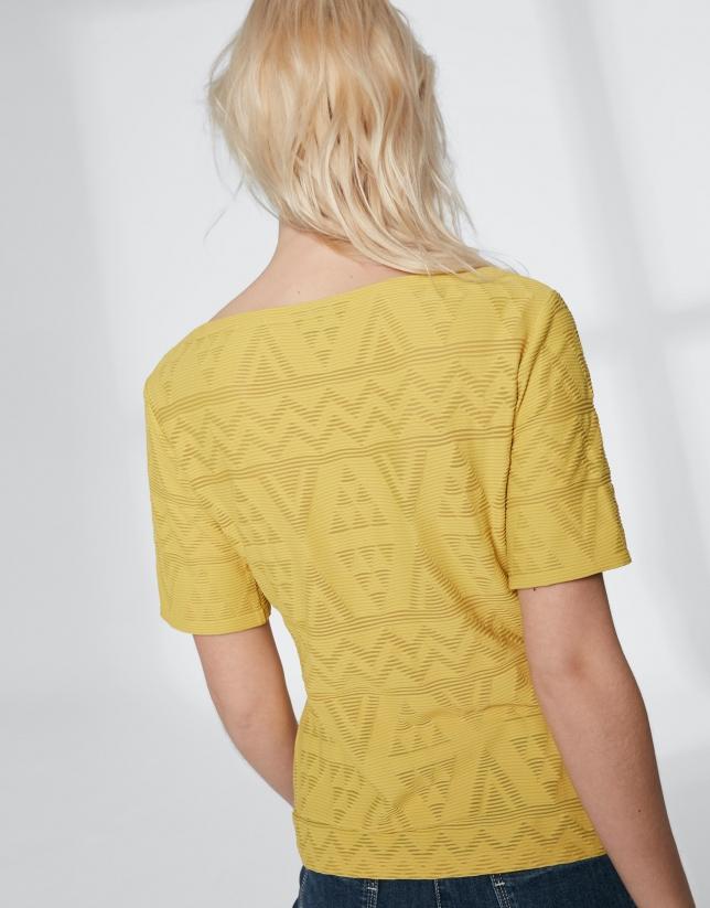 T-shirt jaune en tissu à relief