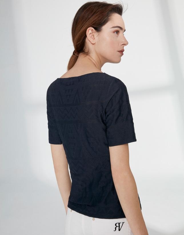 T-shirt bleu marine en tissu à relief