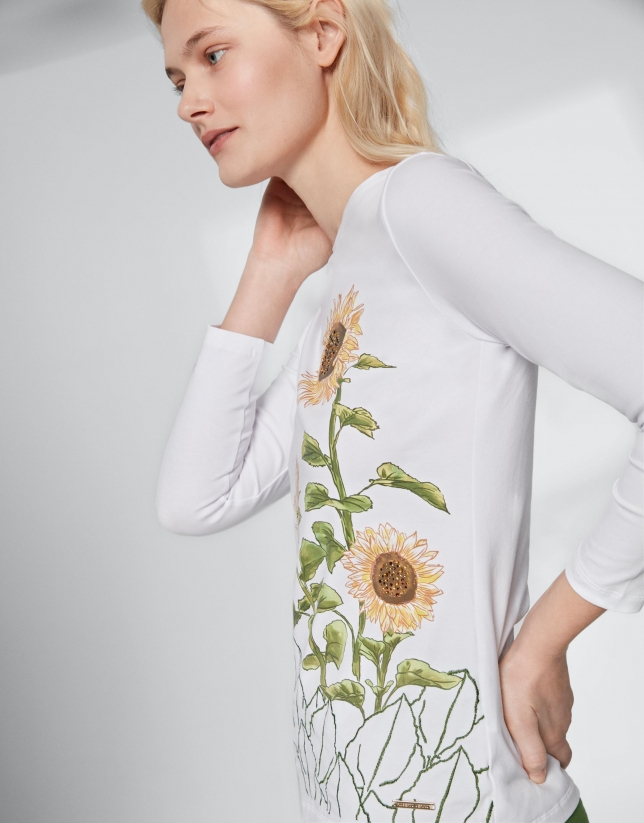 Top with sunflower print