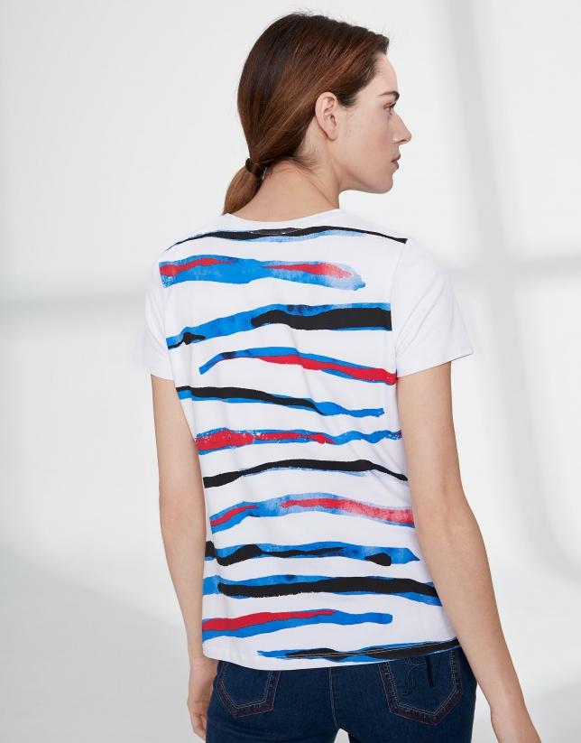 T-shirt imprimé animal en rouge/bleu