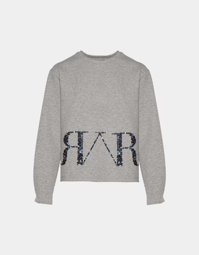 Sweat-shirt gris avec logo en paillettes