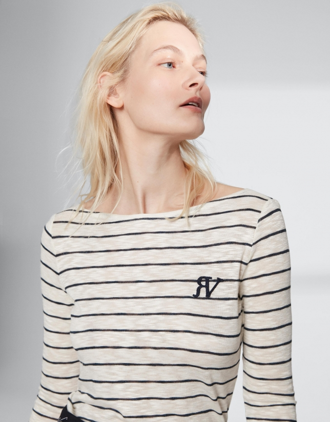 Camiseta raya marinera manga tres cuartos