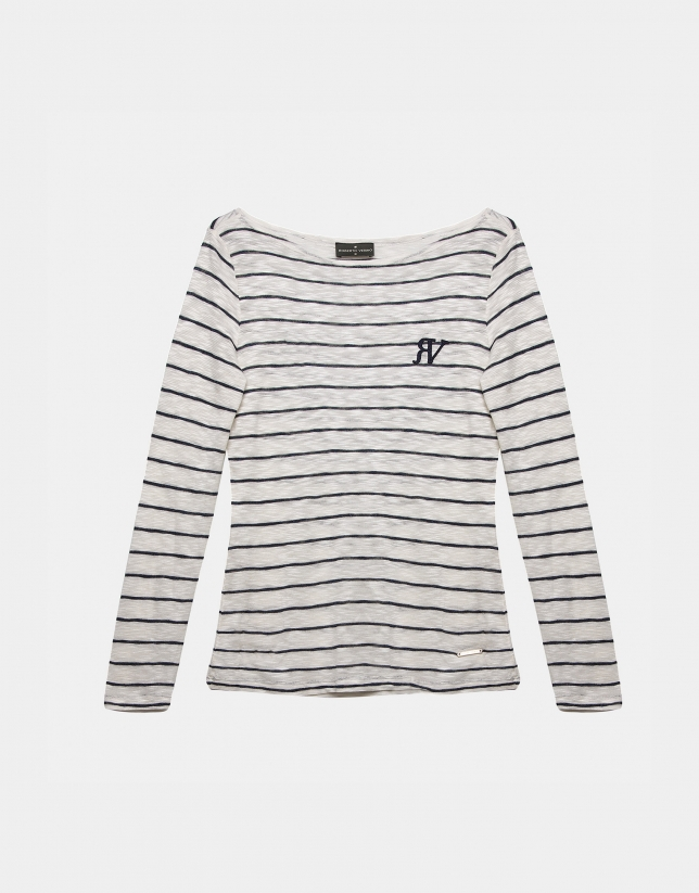 T-shirt à rayures marinières et manches trois-quarts