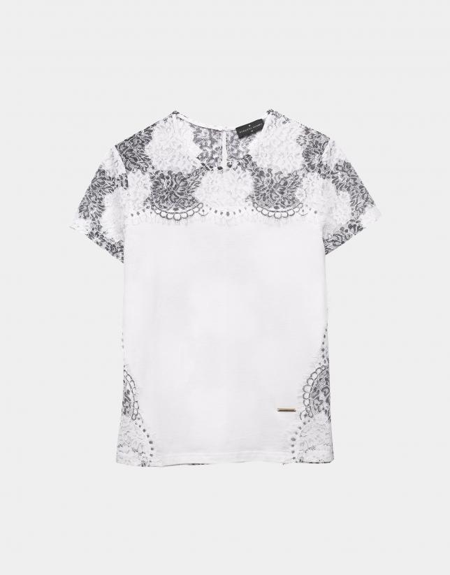 T-shirt blanc avec dentelle