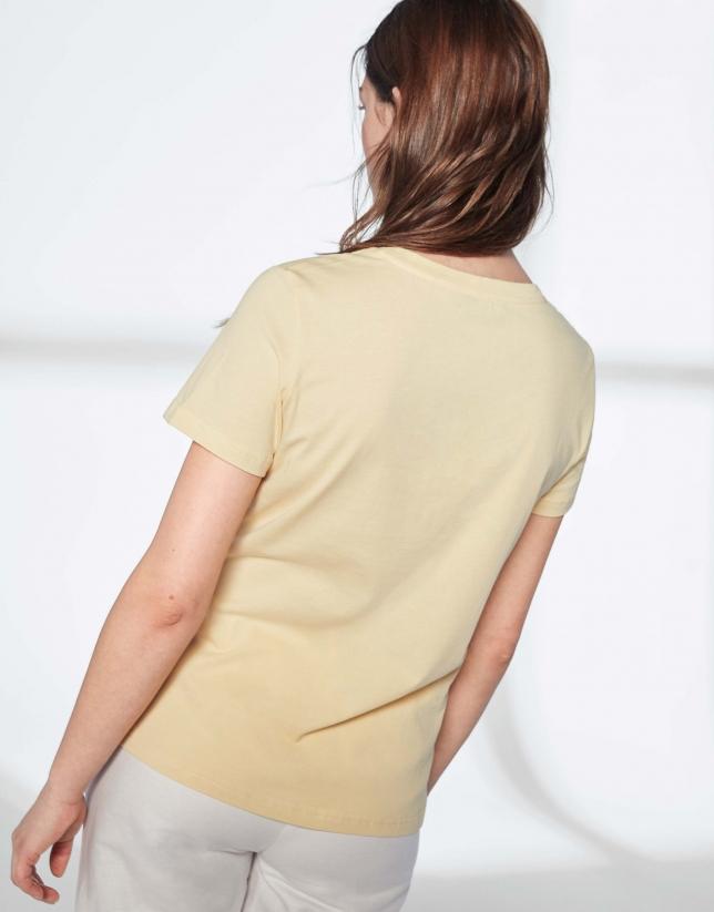 T-shirt imprimé d'une oie en jaune