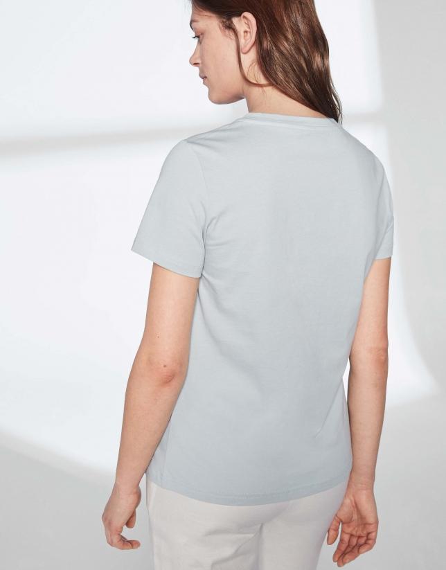 T-shirt imprimé d'une oie en bleu pastel