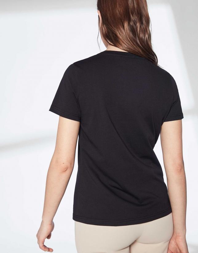 T-shirt imprimé d'une oie en noir