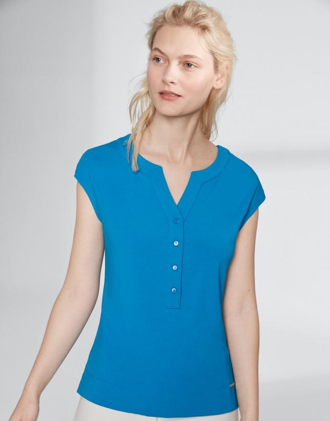T-shirt bleu outremer col V