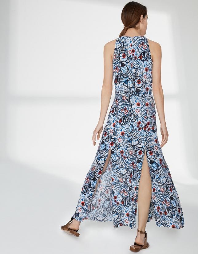 Vestido largo fluido estampado azul y rojo