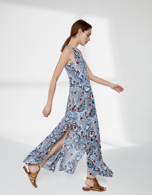 Blue and red print flowing long dress