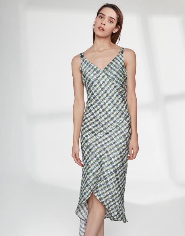 Vestido tirantes estampado geométrico