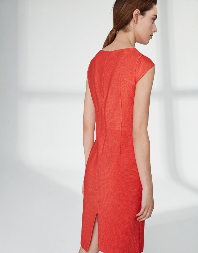 Orange midi jacquard dress with dropped shoulders