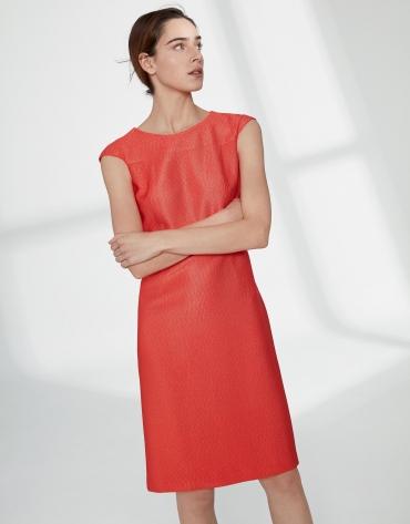 Vestido midi jacquard hombro caído naranja