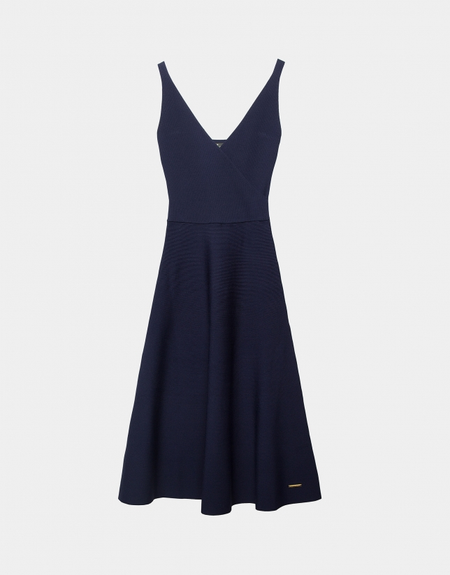 Navy blue knit dress with crossover neckline