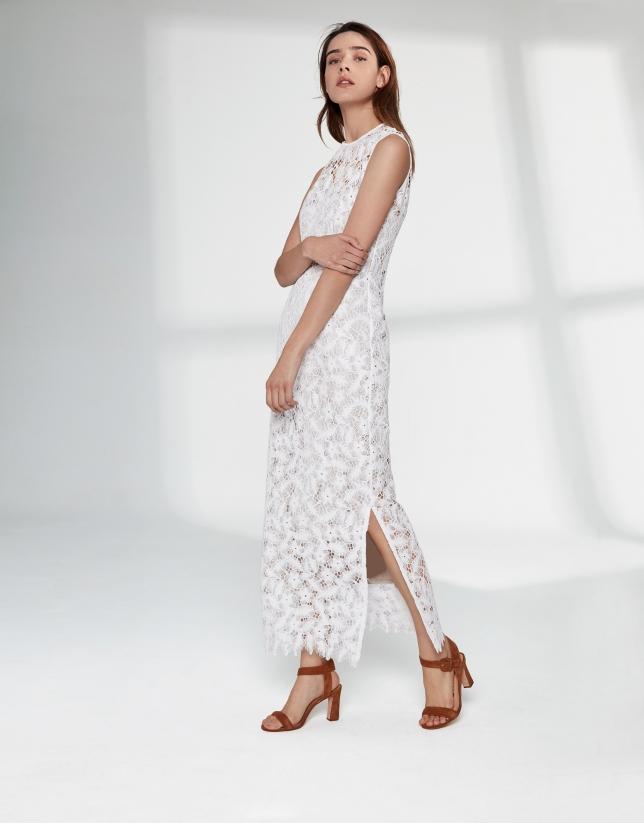 Vestido largo encaje blanco