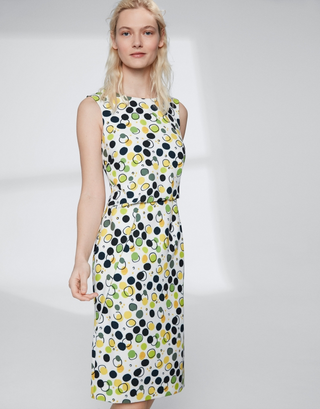 Yellow dotted, midi, asymmetric dress