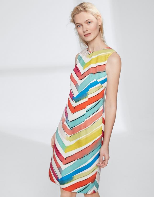 Multicolor herringbone midi dress