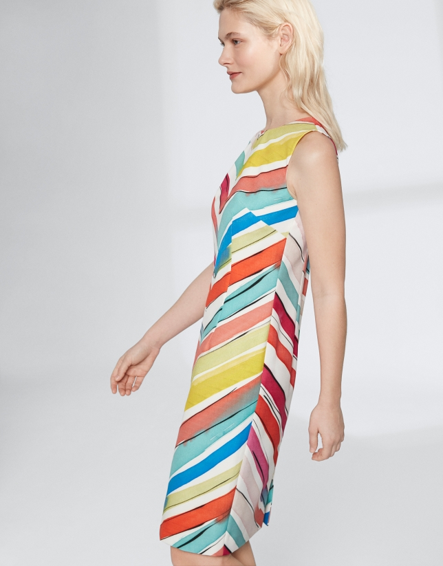 Robe midi multicolore à chevrons