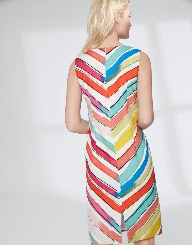 Vestido midi multicolor espiga