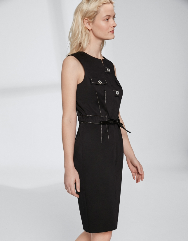 Black cotton midi dress with belt