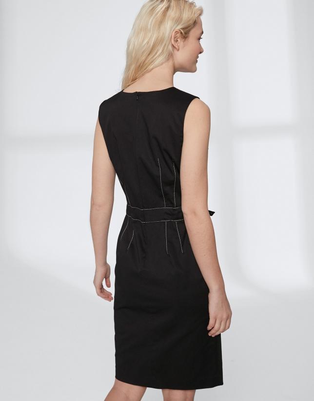 Vestido midi algodón negro con cinturón